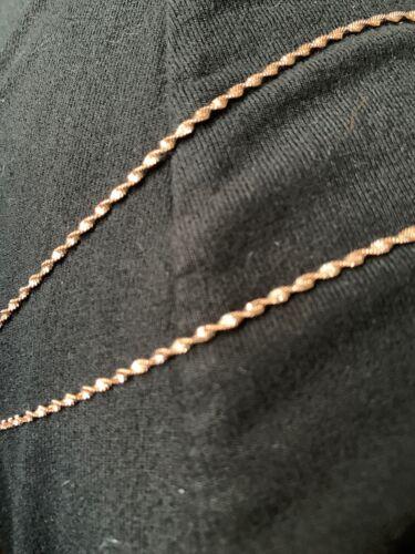 Oro rosa superposición en Collar de Plata Diamante Corte Talla 24