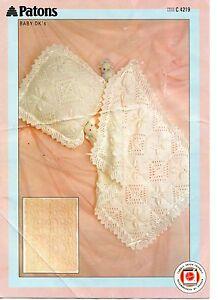 Patons 4219 Vintage Baby Knitting Pattern Dk Shawl Blanket Pillow Ebay