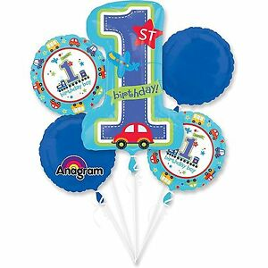1st Year Old Boy Birthday Balloon Bouquet First Birthday Party