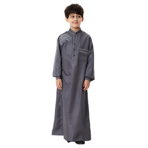 Teenagers Boy Arab Robe Thoub Islamic Long Robe Dress Middle East Clothes S-3XL