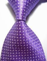 Classic Patterns Light Purple White JACQUARD WOVEN 100% Silk Men's Tie Necktie