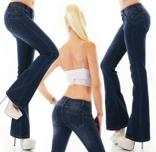 Damen Bootcut Jeans Hose Schlag Denim Dunkelblau Stretch Push Up XS S M L XL