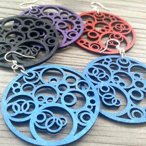Circles-N-039-Circles-Statement-Piece-Laser-Cut-Wood-Earrings-Green-Tree-Jewelry