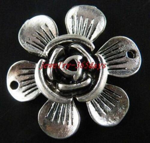 5pcs Tibetan Silver Nice Flower Connectors 30x7mm 20479