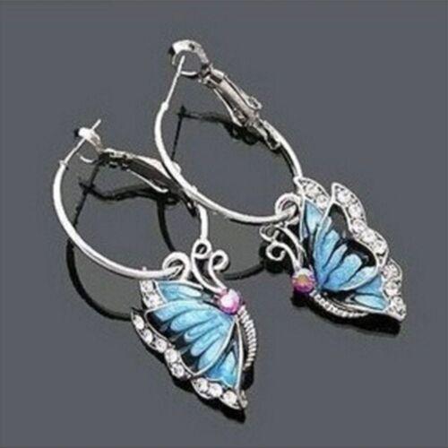 1 Pair Pretty Blue Crystal Rhinestone Enamel Butterfly Dangle Hoop Earrings