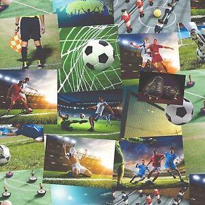 Das Bild Wird Geladen Fine Decor Tapete Neuheit Fussball  Collage Gruen Jungen
