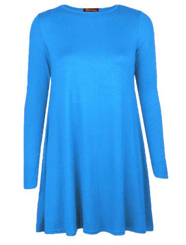 Women Swing Dress Ladies Long Sleeve  Flared A Line Skater Dress Top Size 8-26