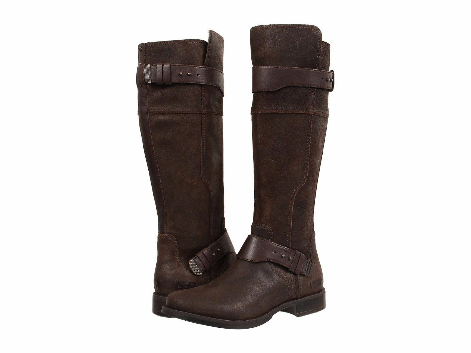 Ugg Australia NIB Women's Sz 9 Dayle Lodge Brown Tall Leather Boots w/ Sheepskin