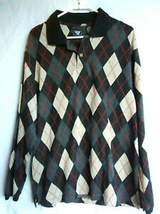 Junction-West-Men-039-s-Rugby-Polo-Long-Sleeve-Argyle-Shirt-Top-Size-M