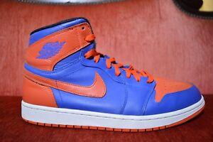 26e2b0c654fb VNDS Nike Air Jordan 1 Retro High OG Knicks Royal Blue Orange Size ...