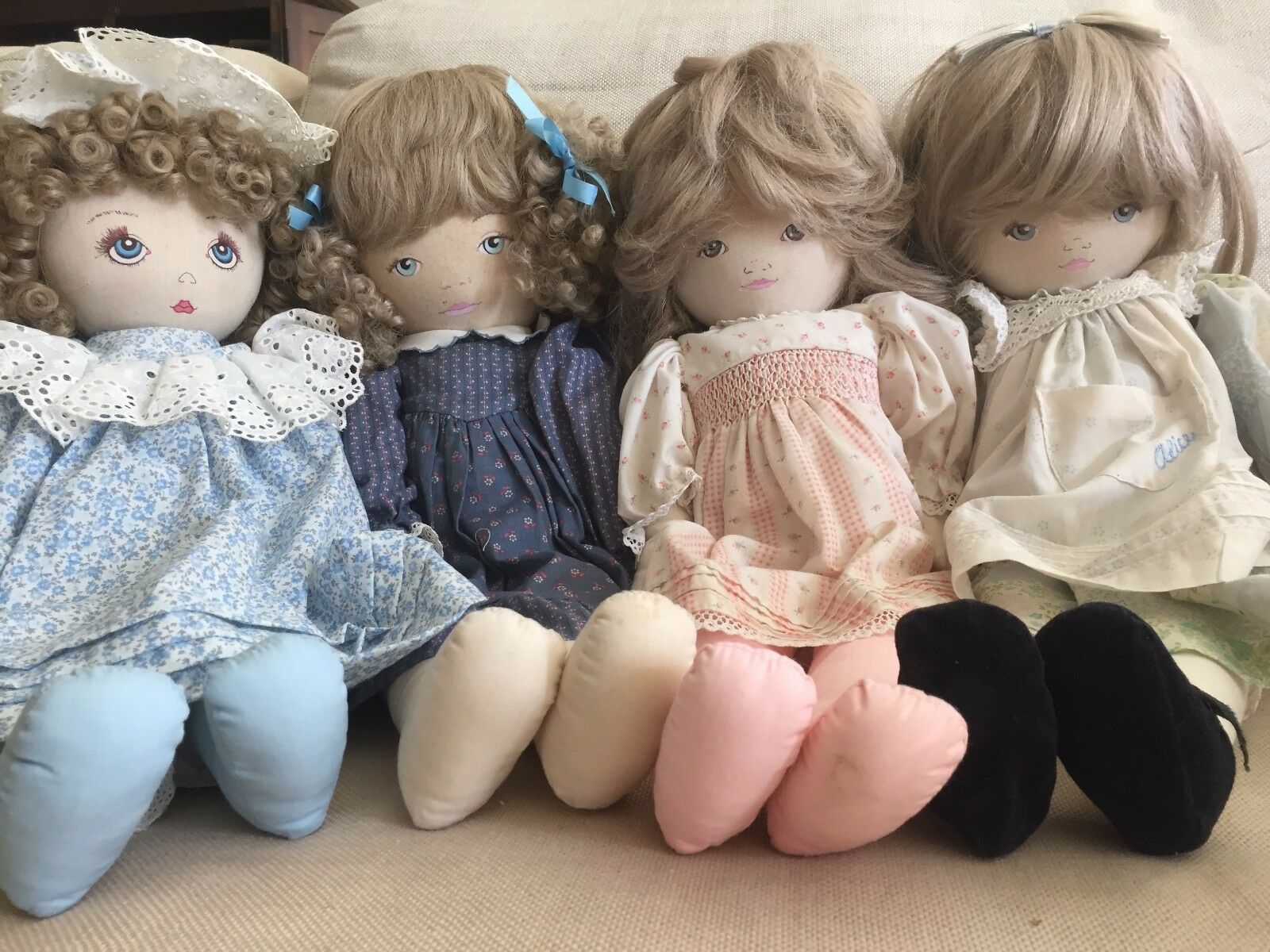 Cloth Rag Doll Dolls by Pauline BJONNESS-JACOBSEN painted face Vintage 1980's