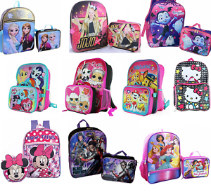 c01fa0cdfde9 Little Girls School Backpack Lunch box Set Large Cartoon Book Bag ...