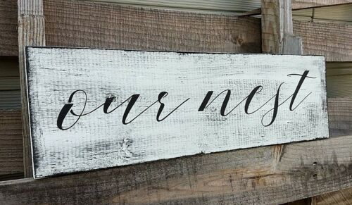 Rustic Wood Sign OUR NEST Home Decor Large Country Wooden Farmhouse family large