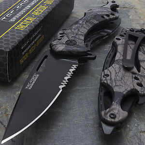 """8.5"""" TAC FORCE SPRING ASSISTED TACTICAL FOREST CAMO FOLDING POCKET KNIFE Open"""
