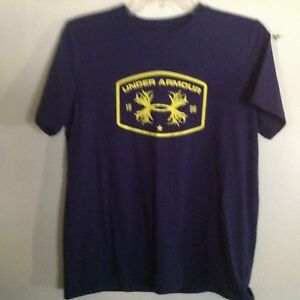 60150c6c Image is loading Navy-amp-Gold-Under-Armour-Shirt-Boys-Youth-