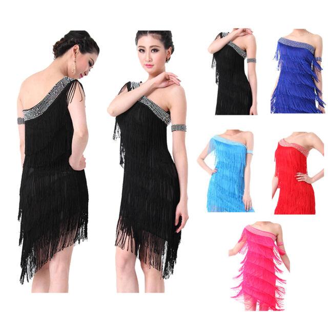 Latin Dance Dress Salsa Ballroom Competition Dance Dress Costume Outfit S M L