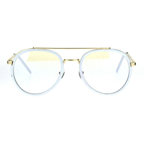 Retro Trend Plastic Metal Double Rim 90s Aviator Clear Lens Eye Glasses