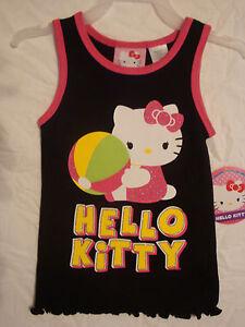 b5c9d7b6eec765 TODDLER GIRLS HELLO KITTY BEACH BALL TANK TOP OR SMILE T-SHIRT SIZES ...