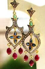 Victorian 1.50ct Rosecut Diamond Gemstones Colorful Wedding Earrings VTJ EHS