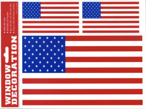 American Flag Window Static Cling Set USA America Pride Fourth 4th of July Decal