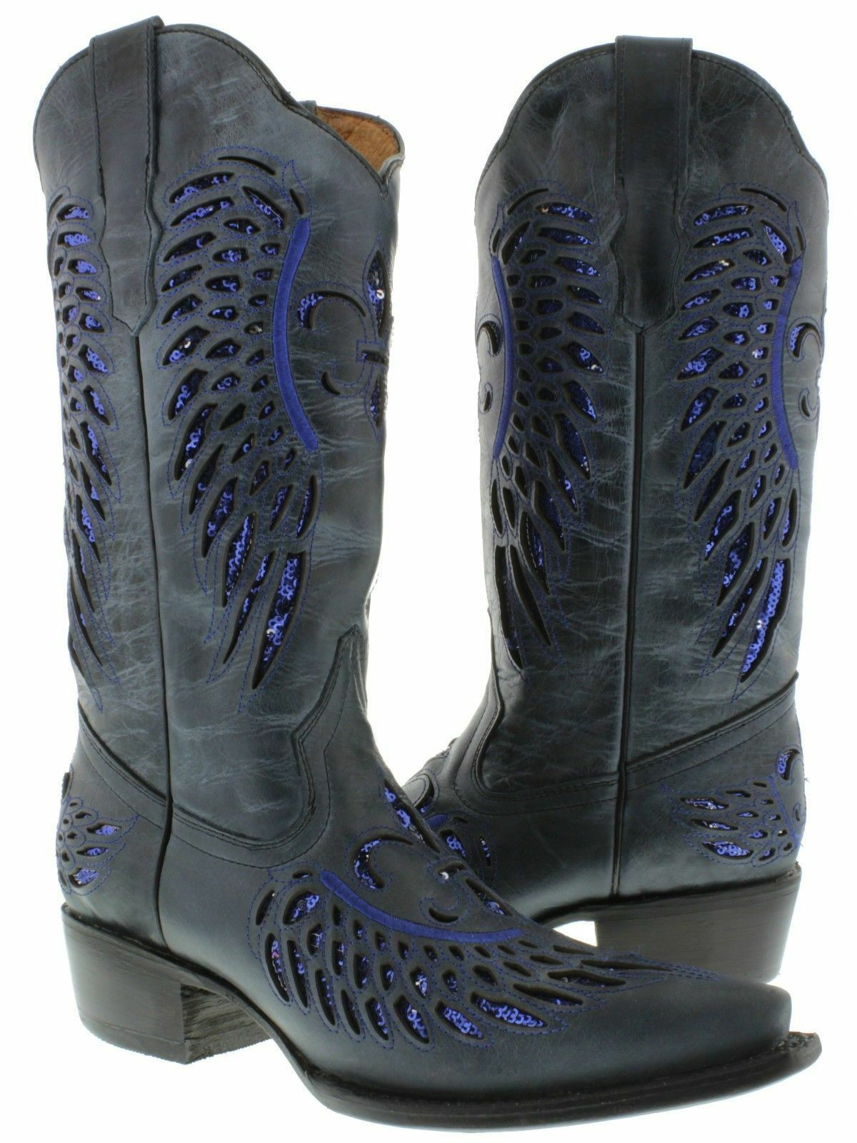 Women's bluee Flower Inlay Sequins Leather Cowboy Rodeo Western Boots Snip Toe