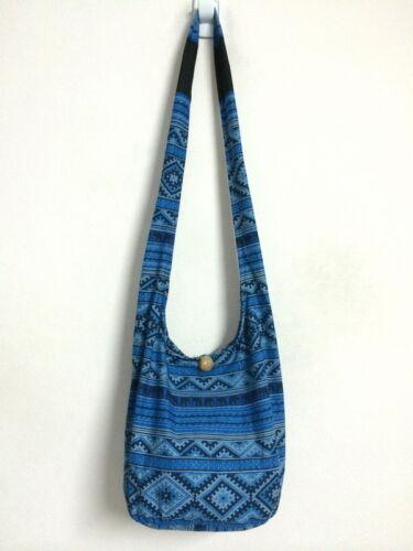 Medium Bag Elephant Print Thai Shoulder Purse Hobo Sling Crossbody Zipper Cotton