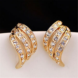 Xmas-Party-Clip-On-Rhinestone-Crystal-Curve-Gold-Huggie-Diamante-Twist-Earrings