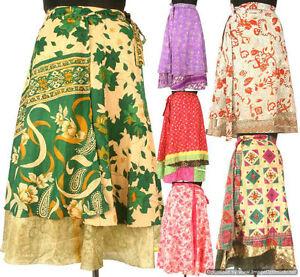10-Knee-Length-Vintage-Silk-Sari-Magic-wrap-skirts-dress-Wholesale-lot-India-SW1