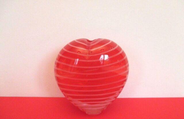 Red Swirl Art Glass Paperweight/Vase