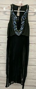 Free-People-Boho-Festival-Long-Sheer-Black-Tunic-Sleeveless-Mirror-Top-size-XS