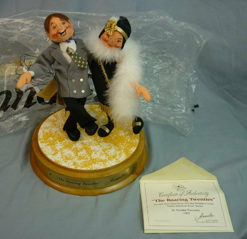 Annalee Dolls The Roaring Twenties Dancing Couple Mounted w Plaque Signed AL437