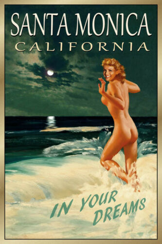 Santa Monica California New Original Travel Poster Marilyn Pin Up Art Print 171