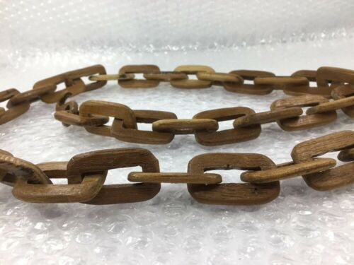 "1PCS Carved Chain Links WOODEN Hand CHAIN FOLK ART Approx 36/"" 2 hooksMedium Size"