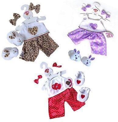 Teddy Bear Clothes fits Build Bear Teddies HEART PJs Pyjama & Slippers Clothing