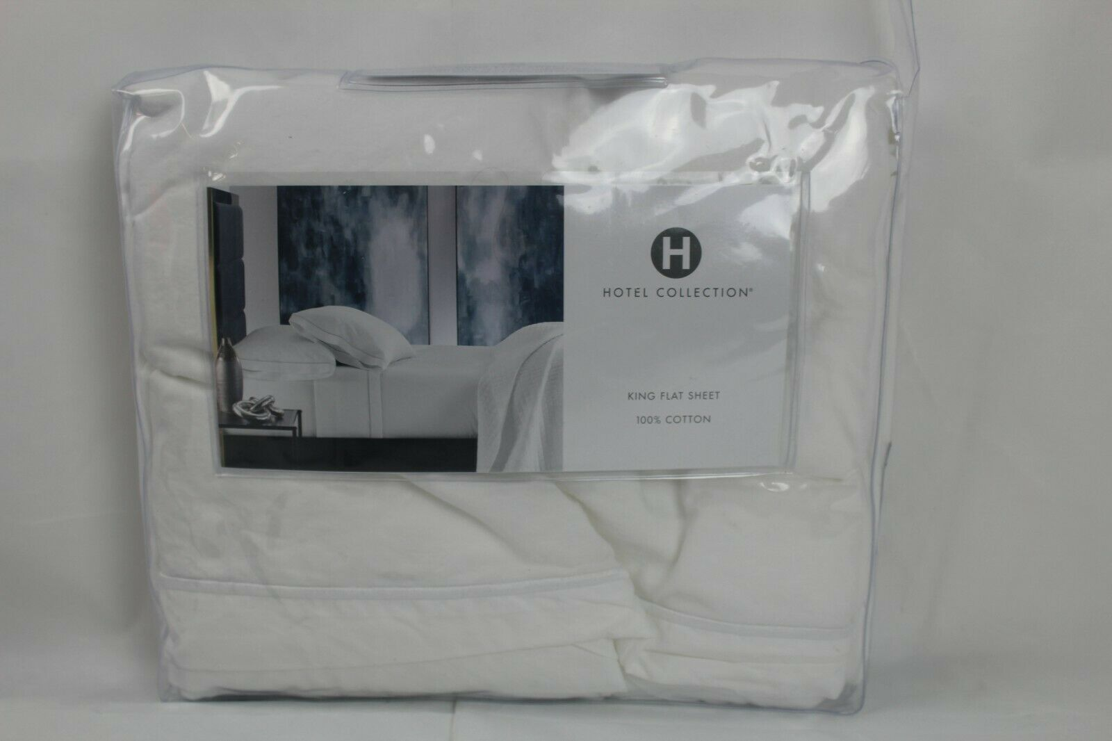 Hotel Collection Italian Percale 100% Cotton KING Flat Sheet Weiß  235