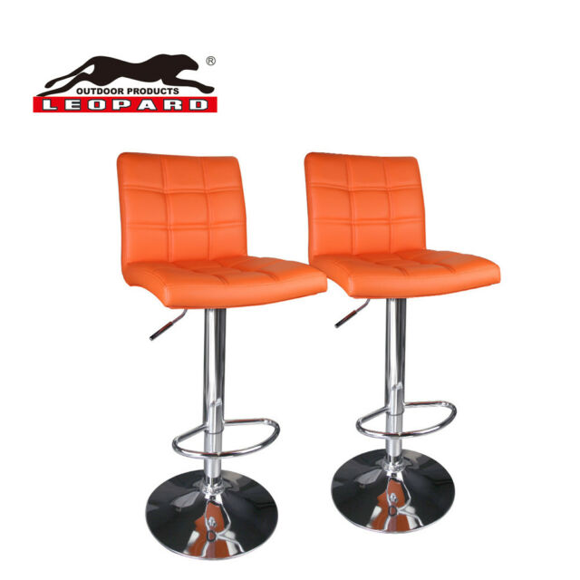 Leopard Modern Square Back Pu Leather Adjule Bar Stools Set Of 2 Orange