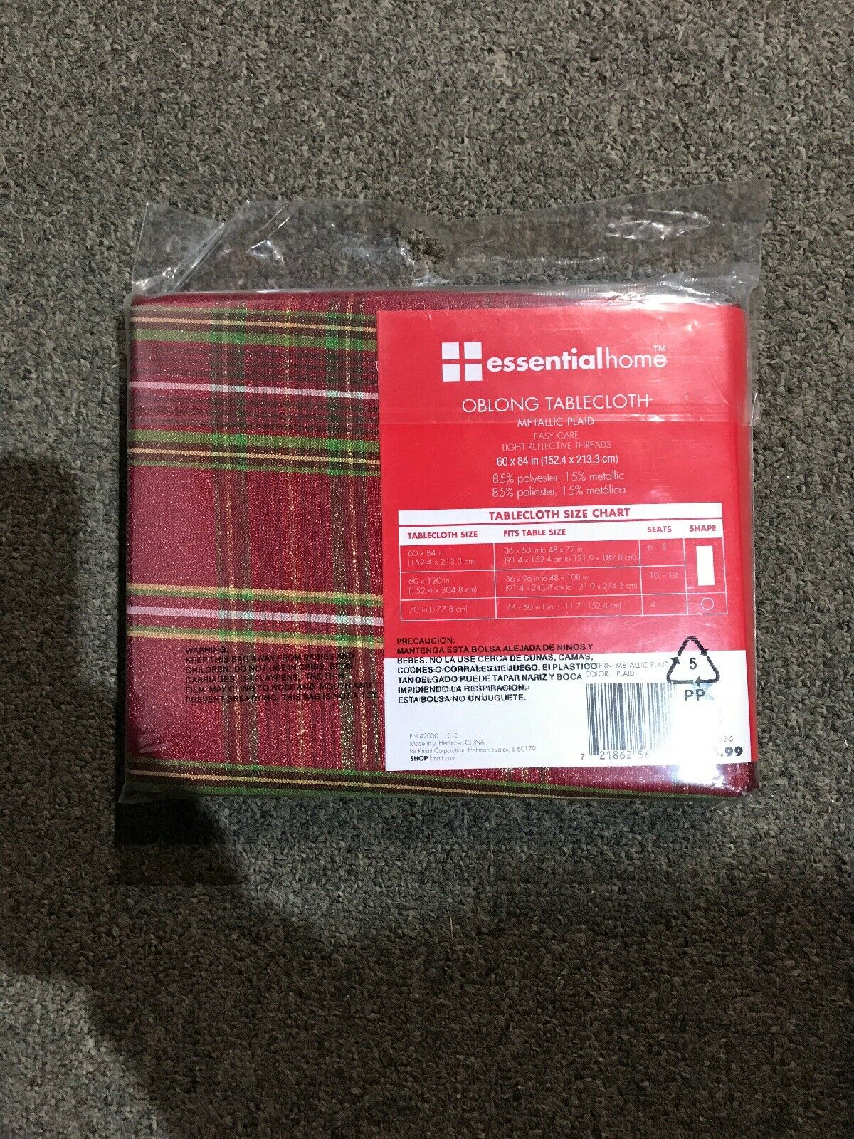 "NEW NIP Sandra Lee Oblong Tablecloth 60/""x 120"" Spice Color"