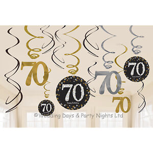 Image Is Loading 12 Happy 70th Birthday Hanging Swirls Cutout Gold