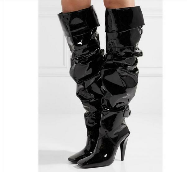 Square Toe Sexy Womens Knee High Boots Gothic shoes Pointed Black Patent Leather