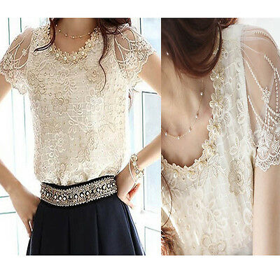 Summer Women Short Sleeve Lace Chiffon Blouse Tops Pearls Neck Flower T-shirt