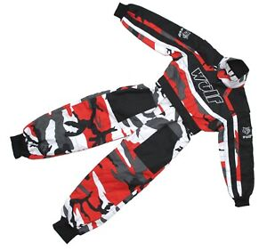 Kids-Wulfsport-Quad-Karting-Childrens-Wulf-MX-Racing-Overalls-Red-Camo-T