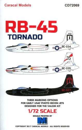 Caracal Decals 172 NORTH AMERICAN RB45 TORNADO Photo Recon Jet Bomber