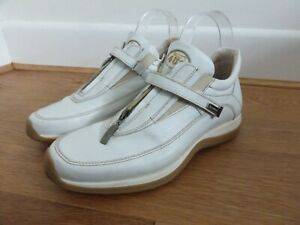Details about Paciotti 4US NEWS chunky white leather zip front trainers sneakers UK 6 VGC