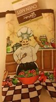 Fat Chef Printed Kitchen 13 Large Oven Mitt, Chef Making The Salad, Brown Back