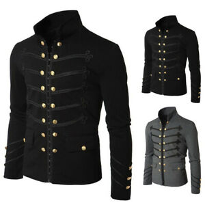MENS GENUINE BLACK LEATHER STEAMPUNK  GOTH RAVE FESTIVAL COAT