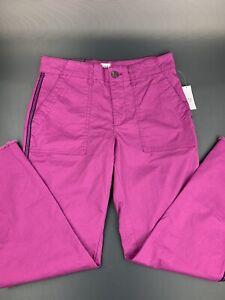 GAP Women's Girlfriend Khaki Stretch Purple Pants with Raw Hem,Button,Zip Fly