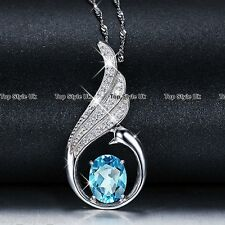 925 Sterling Silver Sapphire Blue Crystal Pendant Necklace Christmas Xmas Gift