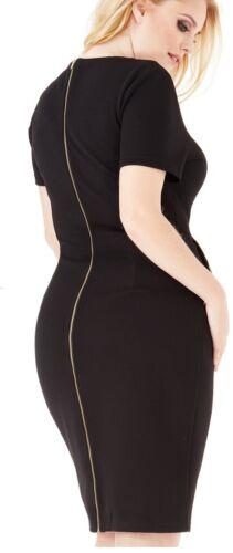 Women/'s Plus Size Abito A Matita Nera Tasche Con Zip Manica Corta 14 16 18 20 22