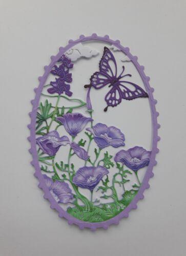 Die Cut Tattered Lace Summer Splendour Card Toppers Flower Scene Frame Purple