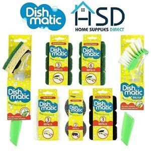 Dish-Matic-Washing-Up-Brush-Sponge-With-Liquid-Dispenser-amp-Dishmatic-Refills-NEW